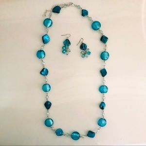 "Turquoise necklace/earring set 16"" long"
